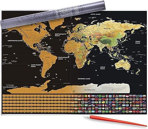 ZOZOSEP World Scratch Off Map W/Gold Foil Layer - Póster de Pared de Viaje Scratching Multicolor con Pen Scratch Poster de Mapa del Mundo Personalizado para Regalo de Viaje: Amazon.es: Hogar