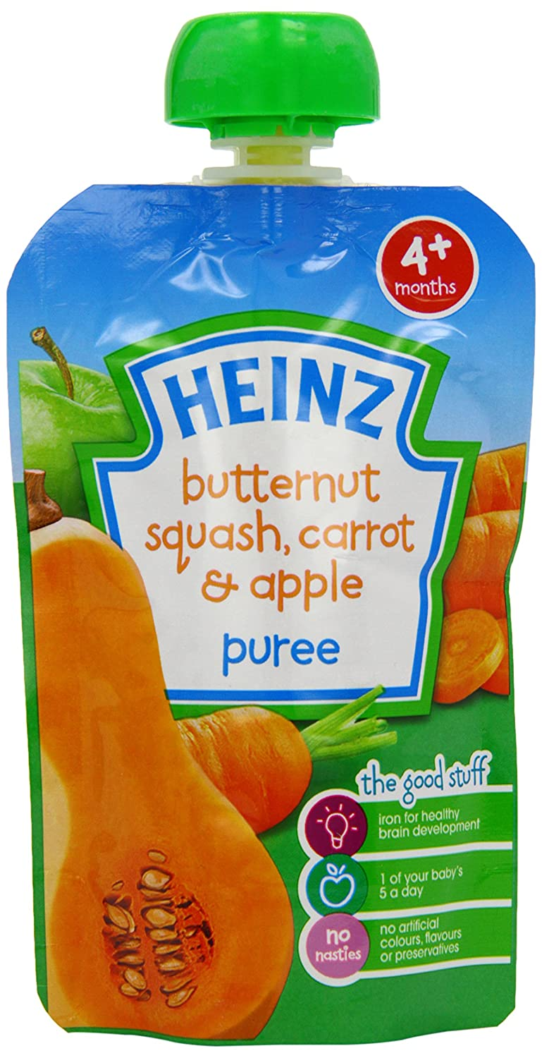 Heinz Butternut Squash/ Carrot and Apple Fruit Pouch 4 Months Plus 100 g (Pack of 6) Healthcenter