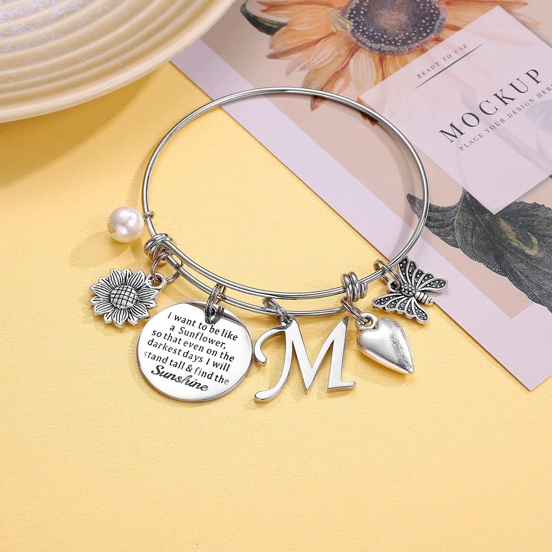 Adjustable Clasp Yellow Turquoise 6.5 ~ 8.5 Long Fall Bracelet 2 in Gift for Her Sunflower Charm Bracelet Women/'s Bracelet