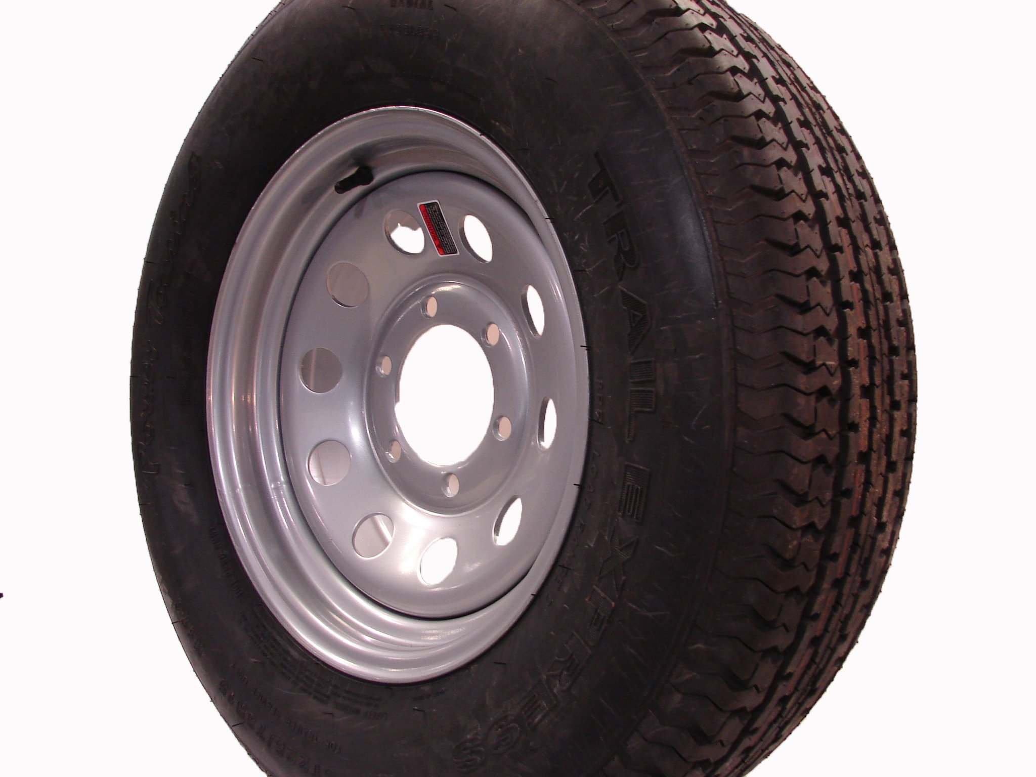 16'' Silver Mod Trailer Wheel 6 Lug with Radial ST235/80R16 Tire Mounted (6x5.5) bolt circle