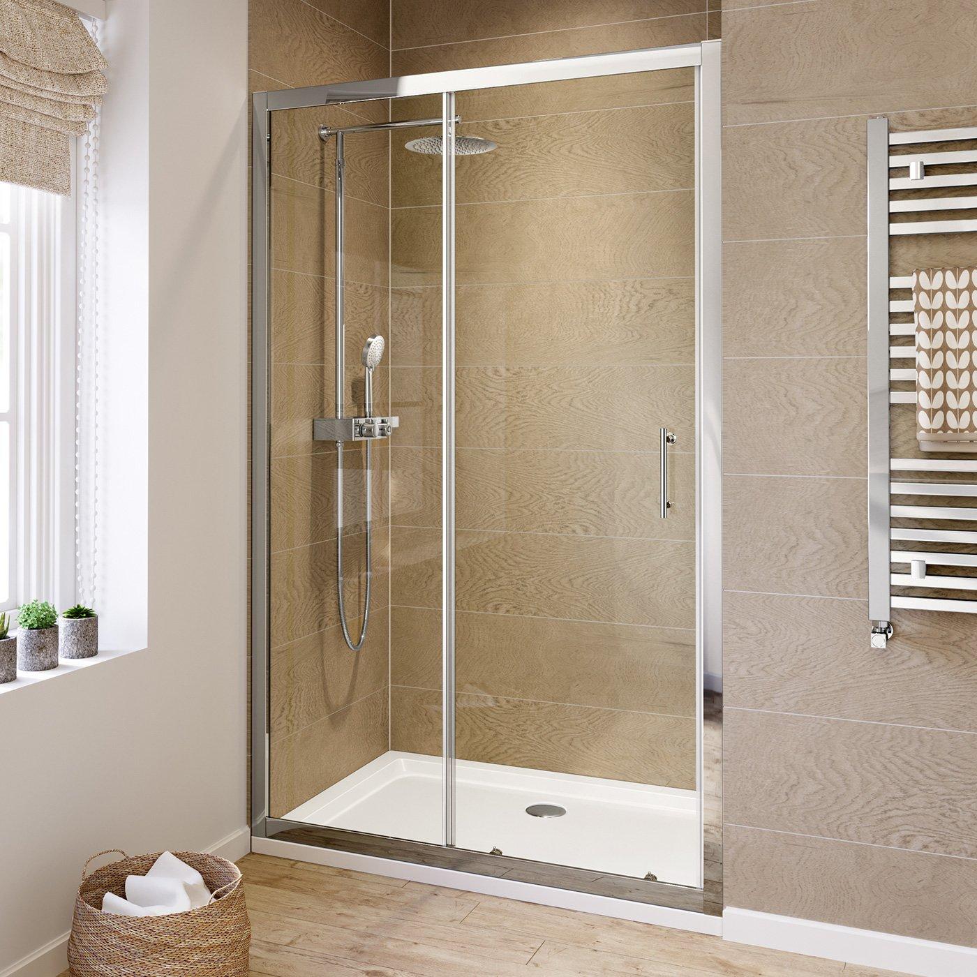 Ibathuk 1200mm Modern Sliding 6mm Glass Shower Enclosure Reversible