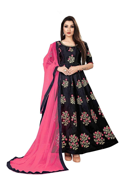 fc7f531b6c Visena Fab Women's Taffeta Silk Semi Stitched Anarkali Gown (Black):  Amazon.in: Clothing & Accessories