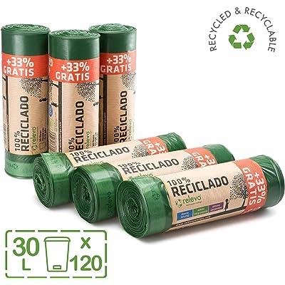 Relevo 100% Reciclado Bolsas de Basura, extra resistentes 30 L, 120 bolsas