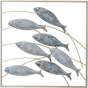 WHW Whole House Worlds Framed Wild Fish Metal Wall Decor, Abstract Primitive Bas-Relief Art, Painted, Textured and Incised Details, 19.75 x 19.75 Inches