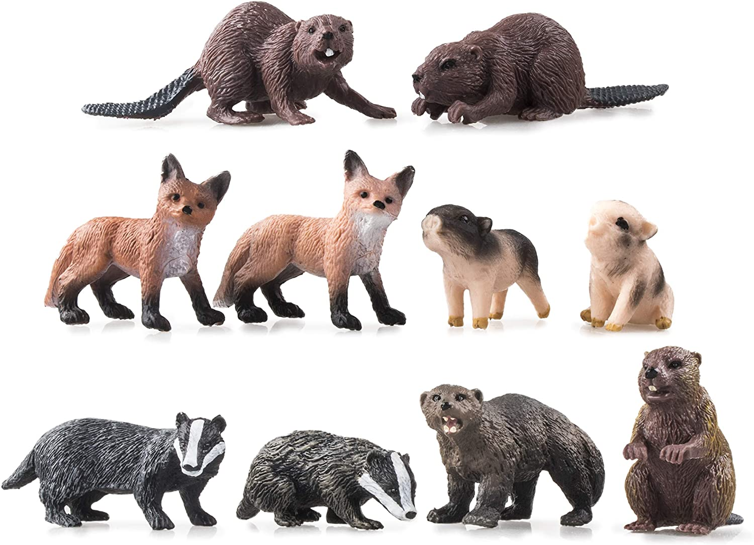 TOYMANY 10PCS Mini Forest Animal Figures, Realistic Wildlife Animal Figurines Toy Set Includes Beavers Foxes Badgers, Easter Eggs Education Birthday Gift Christmas Toy for Kids Children Toddlers