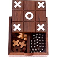 Desi Toys Tic Tac Toe Solitaire 2-in-1 Travel Board Game, Brown