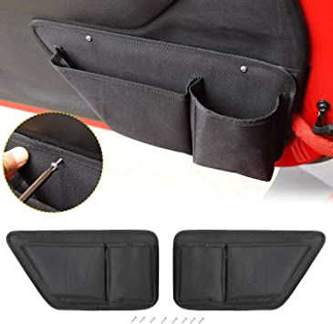 Interior Accessories 2 PCS JeCar Door Storage Bag Front Door Pockets Durable Oxford Storage Organizer for 2011-2018 Jeep Wrangler JK JKU 2//4 Door