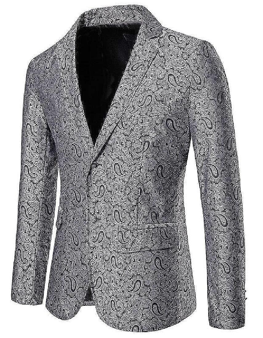Hajotrawa-CA Men Long Sleeve Big and Tall Sport Coat Paisley Blazer Suit Jackets
