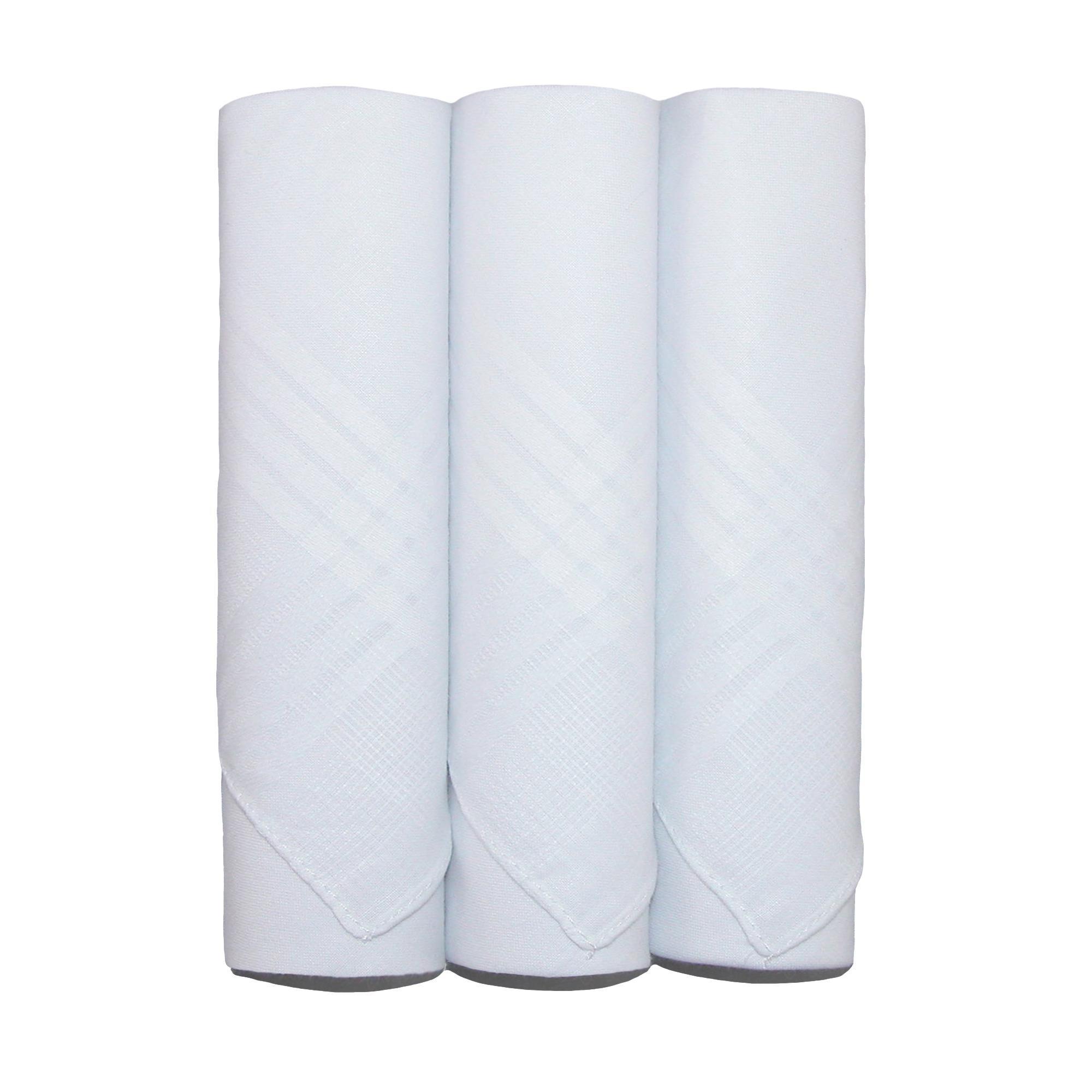Umo Lorenzo Men's Cotton Boxed Plain Handkerchiefs (Pack of 3), White