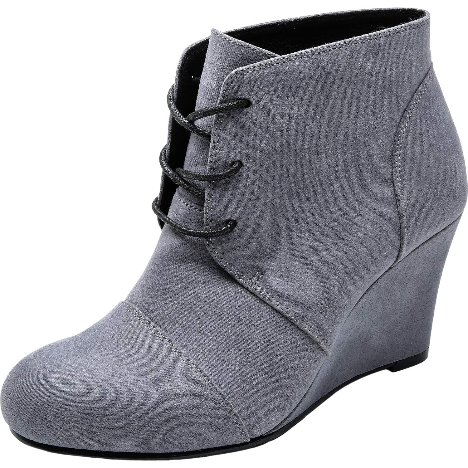 b0d8c1cf3b9e Amazon.com  Women s Wide Width Wedge Boots - Lace Up Low Heeled Ankle  Booties w Round Closed Toe Rubber Sole Memory Foam Insole.  Shoes