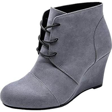 3b6abdda9578 Women s Wide Width Wedge Boots - Lace Up Low Heeled Ankle Booties w Round  Closed