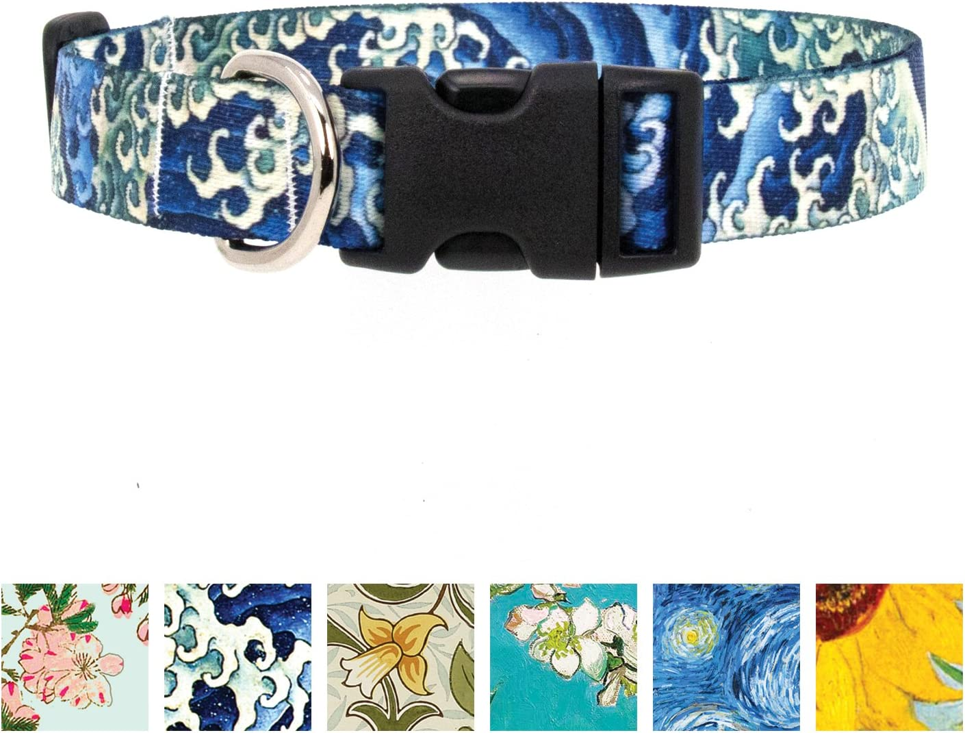 Buttonsmith Hokusai Waves Dog Collar - Made in The USA - Fadeproof Permanently Bonded Printing, Military Grade Rustproof Buckle, Choice of 6 Sizes