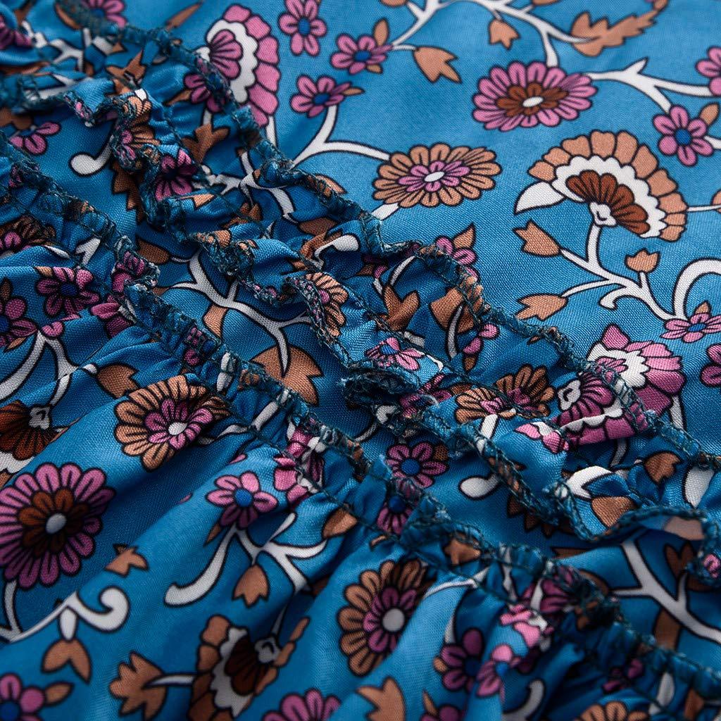 Clothful  Women Dress, Womens Sexy Casual Sleeveless Bohemia Print National Style Mini Floral Dress Blue by Clothful (Image #4)