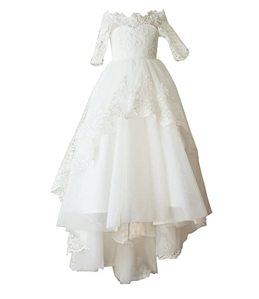 9fdeb832d5d Miama Ivory Lace Tulle Wedding Flower Girl Dress Junior Bridesmaid Dress   Amazon.ca  Clothing   Accessories