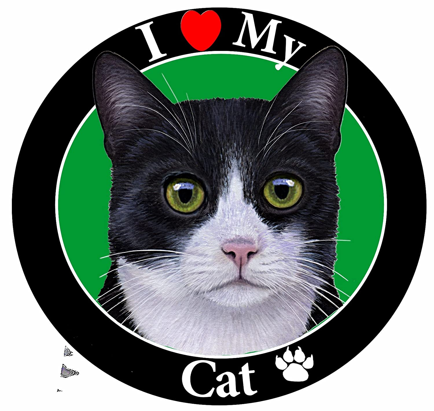 """I Love My Black and White Cat"" Car Magnet With Realistic Looking Black and White Cat Photograph In The Center Covered In UV Gloss For Weather and Fading Protection Circle Shaped Magnet Measures 5.25 Inches Diameter E&S Imports CMC-3 car magnets dog breed"