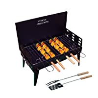 ATHENACREATIONS Charcoal Base Portable Folding Briefcase Style Barbeque Grill Toaster