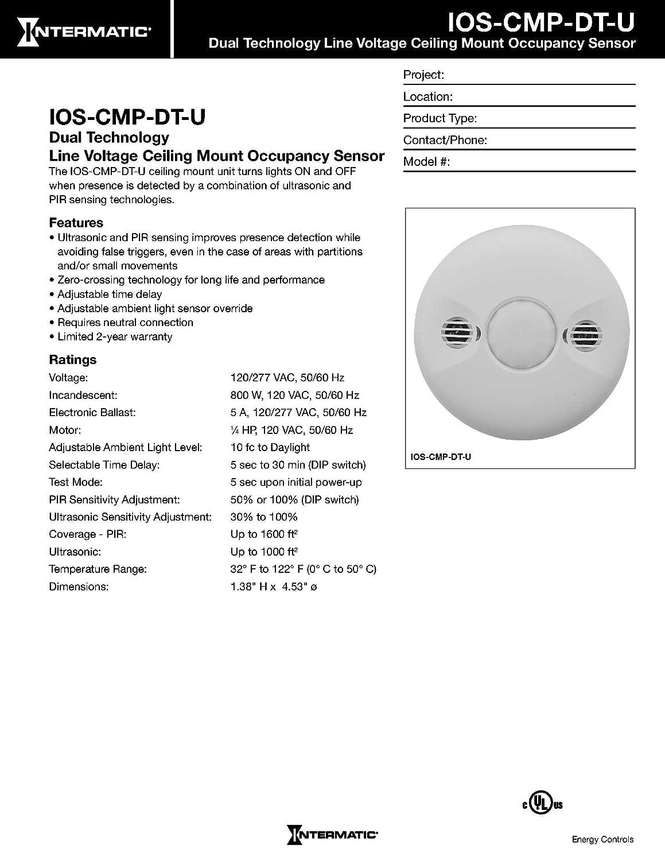 Intermatic IOS-CMP-DT-LV Low Voltage Ceiling Mount Dual Tech Sensor - -  Amazon.com
