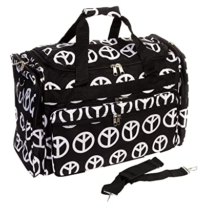 "22"" Black & White Large Peace Sign Print Large Duffel Bag w/ Black Trim"