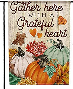 Deloky Fall Welcome Pumpkin Patch Garden Flag-Double-Sided Farmhouse Autumn Yard Burlap Banner,Flag for Fall,Thanksgiving Indoor & Outdoor Decoration