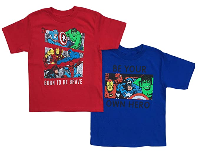 440dff82 Amazon.com: Marvel Super Heroes Little Boys Toddler 2 Pack T Shirt ...