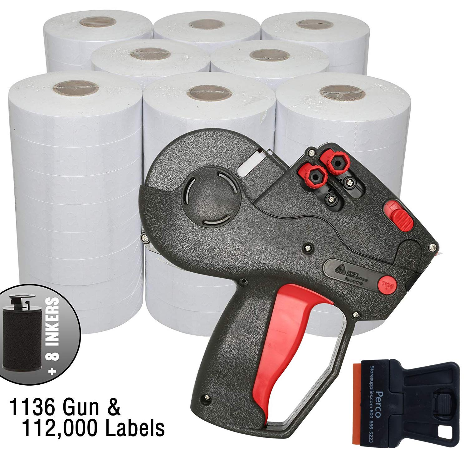 Monarch 1136 Price Gun with Labels Value Pack: Includes Monarch 1136 Pricing Gun, 112,000 White Pricemarking Labels, Bonus Inkers by Perco (Image #1)