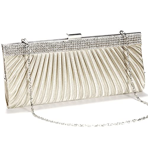 fa47866c3a760 Anladia Satin Steel Crystal Diamante Evening Clutch Bag Prom Bridal Purse  (Beige)