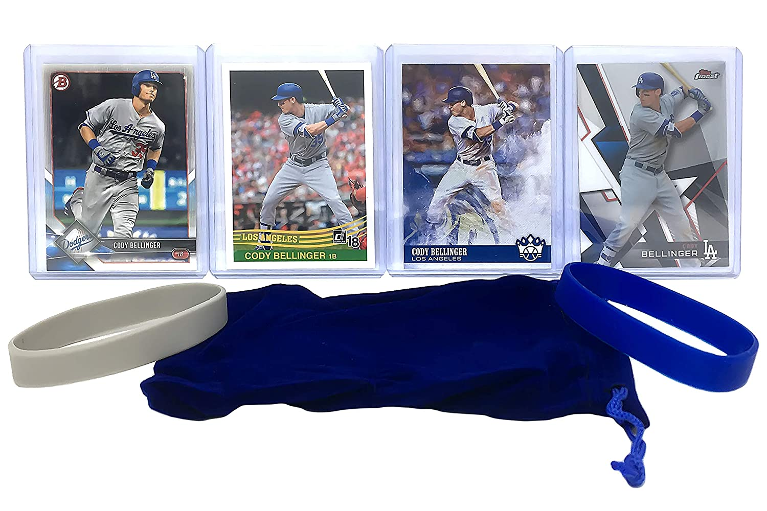 Cody Bellinger Baseball Cards (4) ASSORTED Los Angeles Dodgers Trading Card and Wristbands Gift Bundle Panini Bowman Topps
