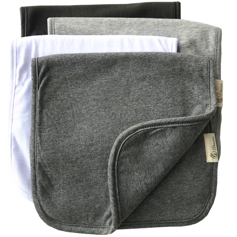 Burp Cloths for Babies, Grey Black and White Set, 20 by 10 Inches 3 Layers, Cotton and Absorbent fleece, 4 Pack by Arnzion