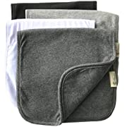 "Burp Cloths for Babies, Grey Black and White Set, 20"" by 10"" 3 Layers, Cotton and Absorbent fleece, 4 Pack"