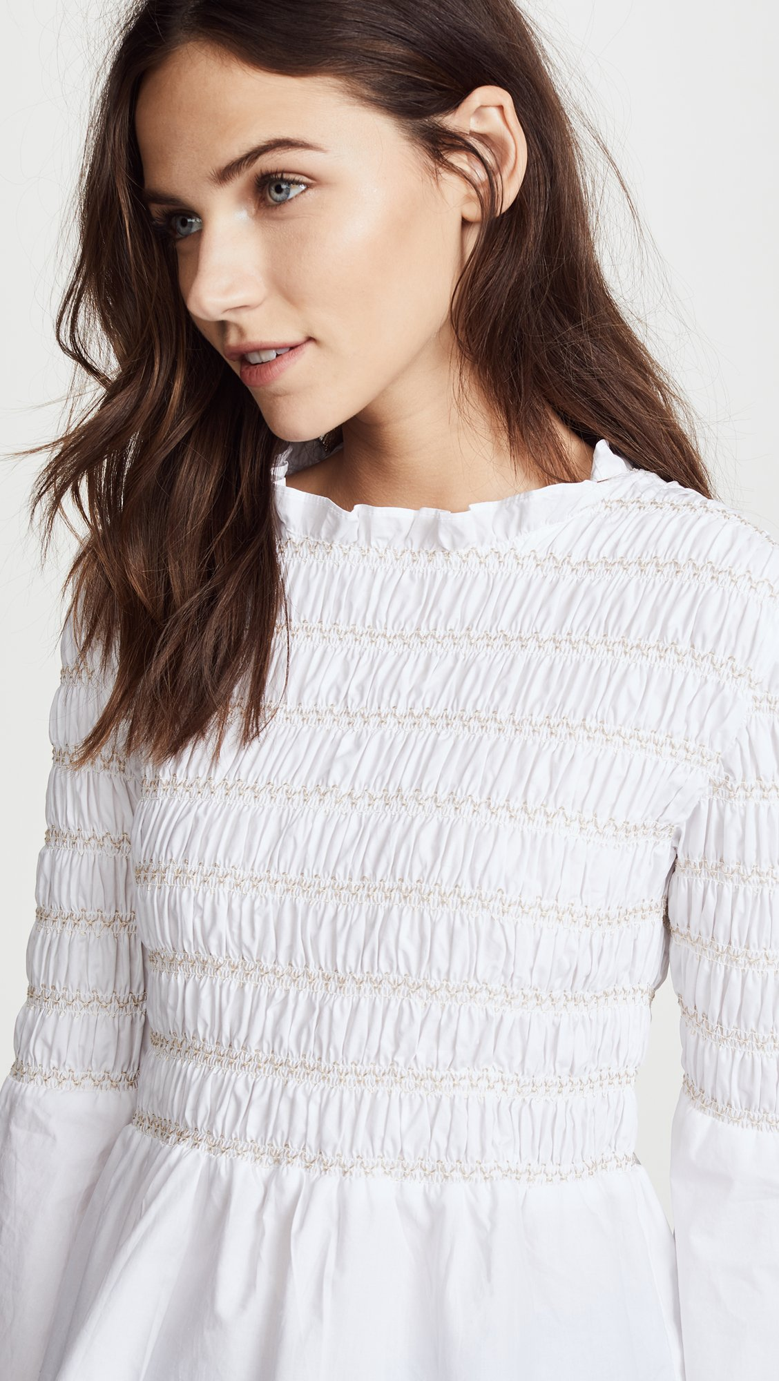 endless rose Women's Smocked Poplin Top, Off White, Small by endless rose (Image #6)