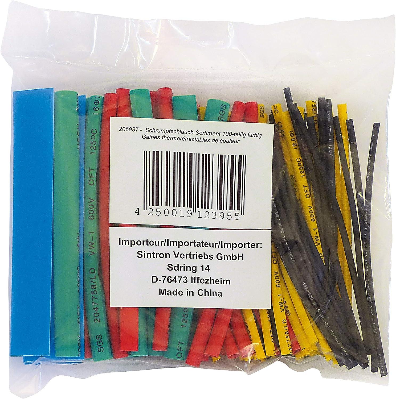 100 Teilige Schrumpfschlauch Schrumpfschl/äuche Sortiment Bunt 100mmx1,5mm
