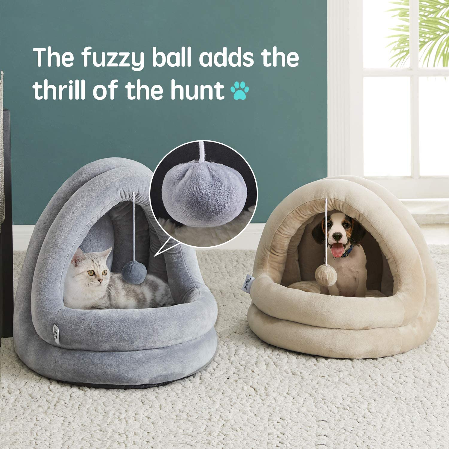 2 in 1 Machine Washable Cat Beds Super Soft Pet Supplies Anti-Slip /& Water-Resistant Bottom WESTERN HOME WH Cat Bed for Indoor Cats Large Pet Tent Soft Cave Bed for Dogs and Small Cats