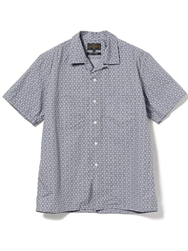 Fine Print Short Sleeve Camp Shirt 11-01-1061-139: Saxe