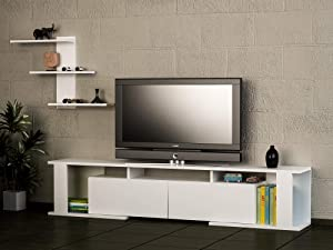 MAKENZA Florance TV Stand Wood Modern TV Console Storage Cabinet, Media Entertainment Center for Living Room Furniture, Homes & Offices (White)