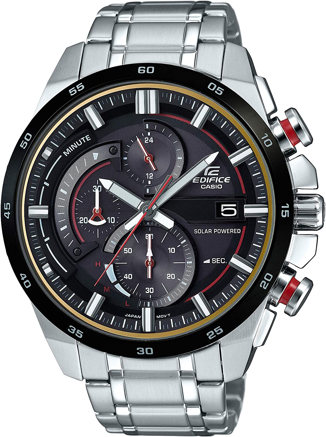 Casio Men's Edifice Quartz Watch with Stainless-Steel Strap, Silver, 20.7 (Model: EQS-600DB-1A4CR)