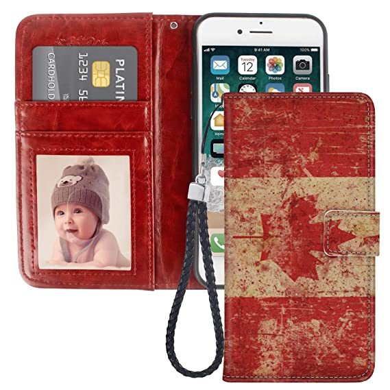 info for 166a1 0a879 Amazon.com: Canada Flag iPhone 6S Case PU Leather Wristlet Folio TPU ...