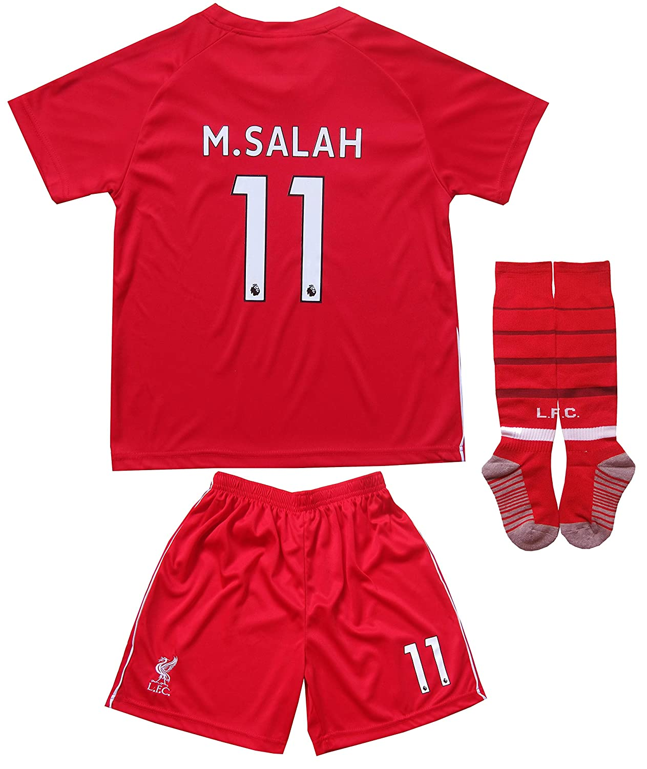 b356ca5a9 Amazon.com   LES TRICOT 2018 2019 Liverpool Home  11 Salah Football Futbol Soccer  Kids Jersey Shorts Socks Set Youth Sizes   Sports   Outdoors