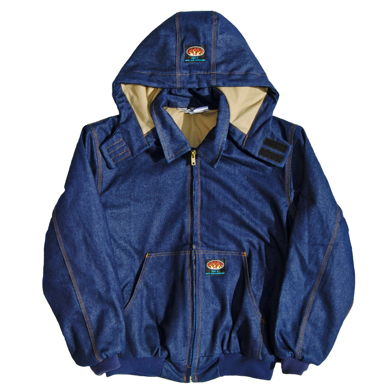 08f695b32b42 Amazon.com  Rasco FR 11.5 oz Denim Quilted Hooded Jacket DJFQ2208 Denim  Flame Resistant Jacket  Clothing