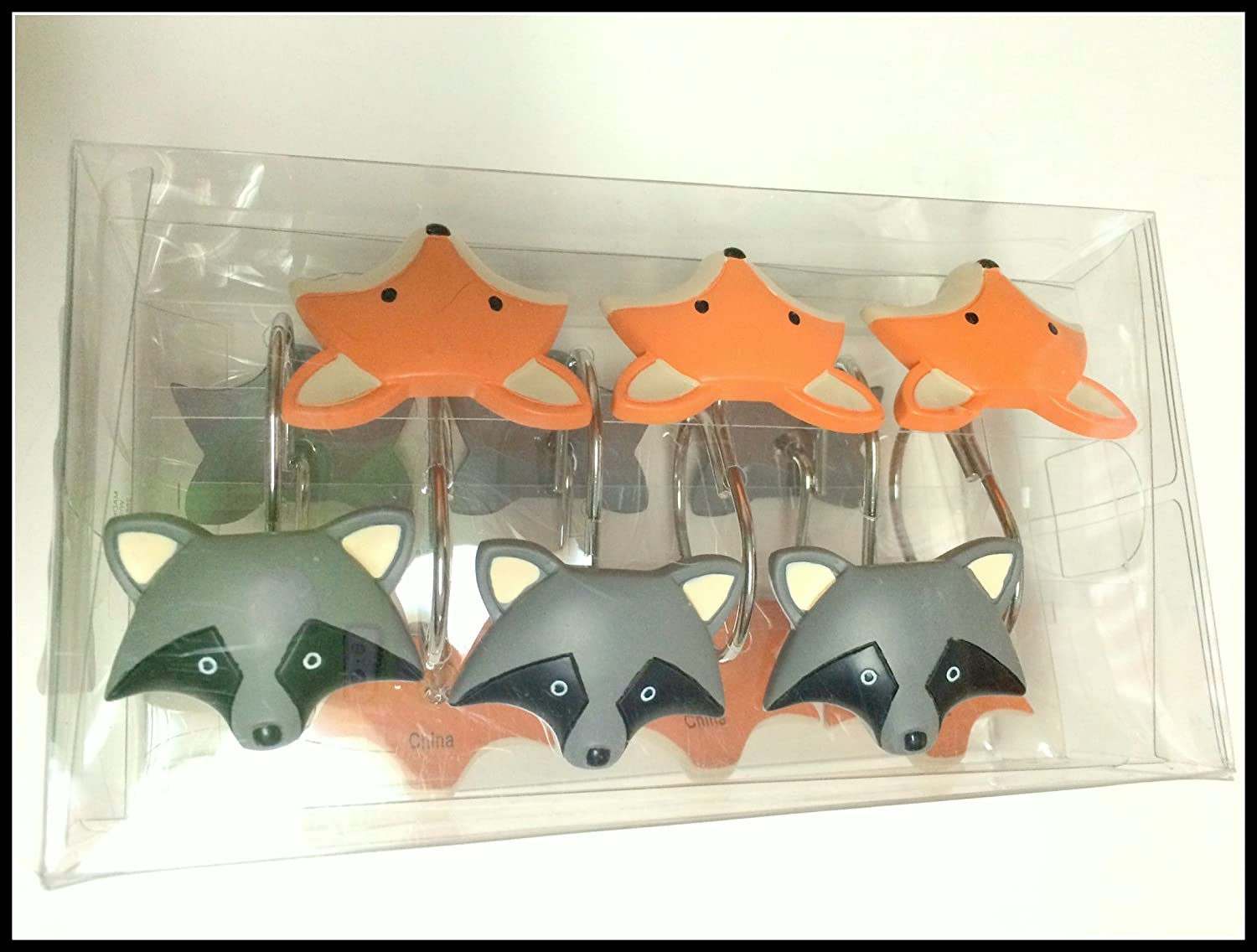 Woodland Animals Decorative Foxes and Raccoons Shower Curtain Hooks - 12 Hooks