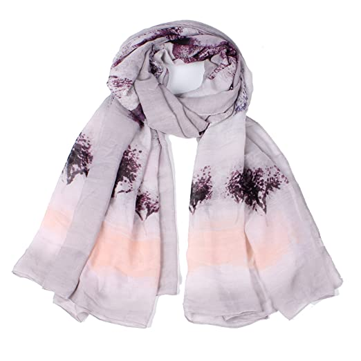f0cc5fbe9bb64 【Colorful Spring Inspired】Women's Lightweight Fashion Scarf, Floral and  Modern Print Sheer Shawl Wrap (bear gray)