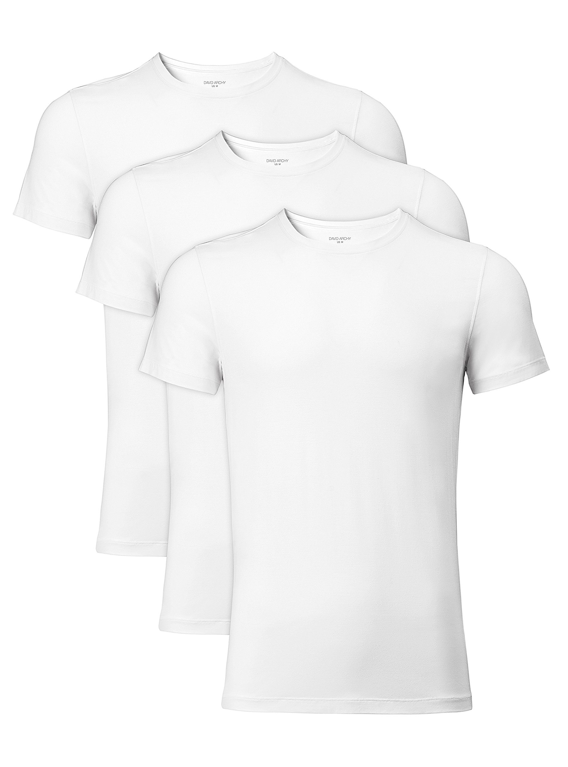 David Archy Men's 3 Pack Soft Comfy Bamboo Rayon Undershirts Breathable Crew Neck Slim Fit Tees Short Sleeve T-Shirts (L, White)
