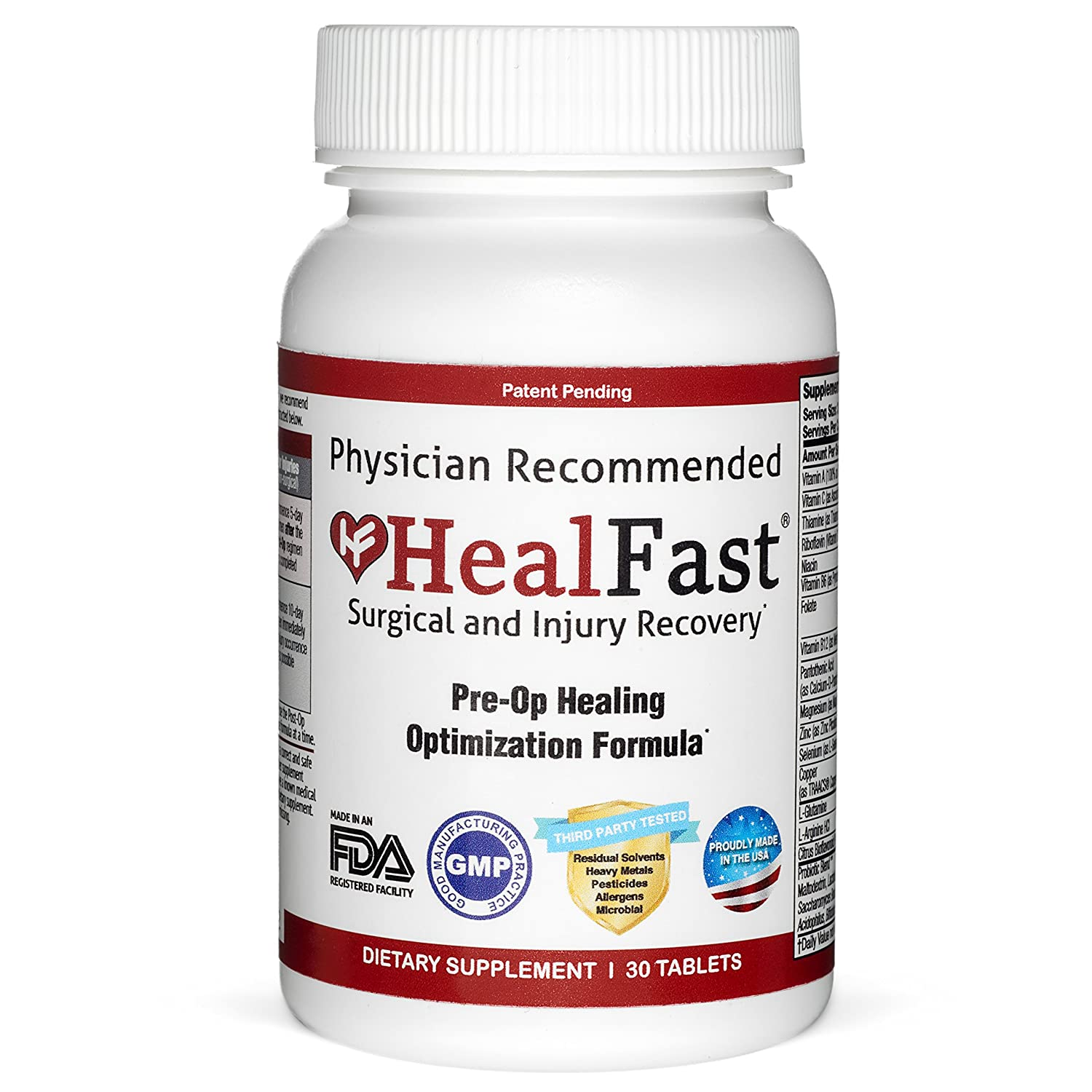 HealFast Surgical Injury Recovery Pre-Op Healing Optimization Formula 30 Tablets