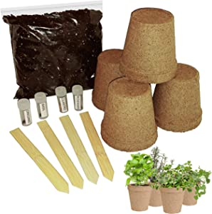 Indoor Herb Garden Starter Kit | Kitchen Windowsill Herbs You Grow Fresh at Home | Green Thumb Not Required | 4 Types Organic Seeds | StorganizeMe