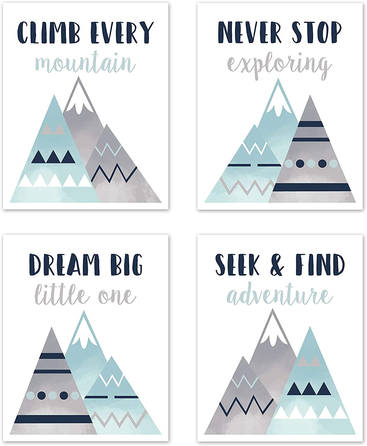 Sweet Jojo Designs Navy Blue, Aqua and Grey Aztec Wall Art Prints Room Decor for Baby, Nursery, and Kids for Mountains Collection - Set of 4 - Dream Big Adventure