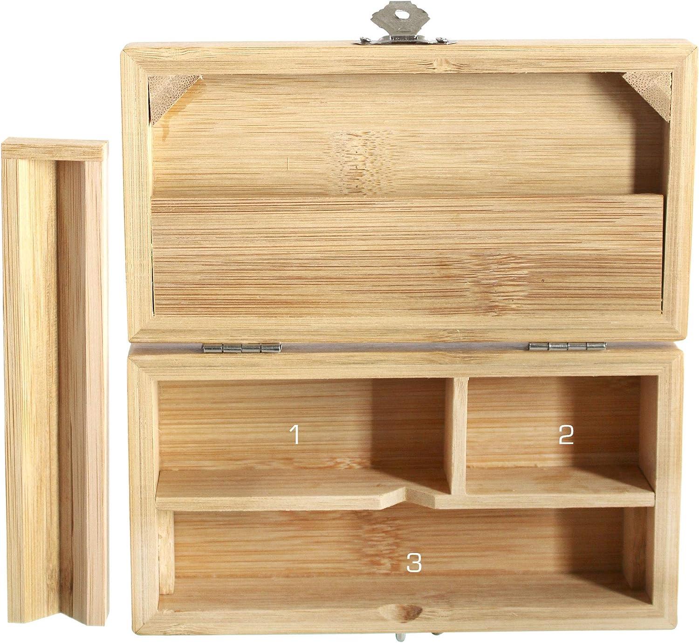 Heisenberg Caja de bamb/ú Peque/ño 3 compartimentos 16 x 8,5 x 4,5 cm Rolling Box