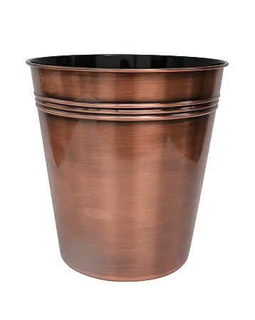 BathSense CM1391 Copper Bathroom Wastebasket U0026 Trash Can Refuse Disposal  Bin, Copper