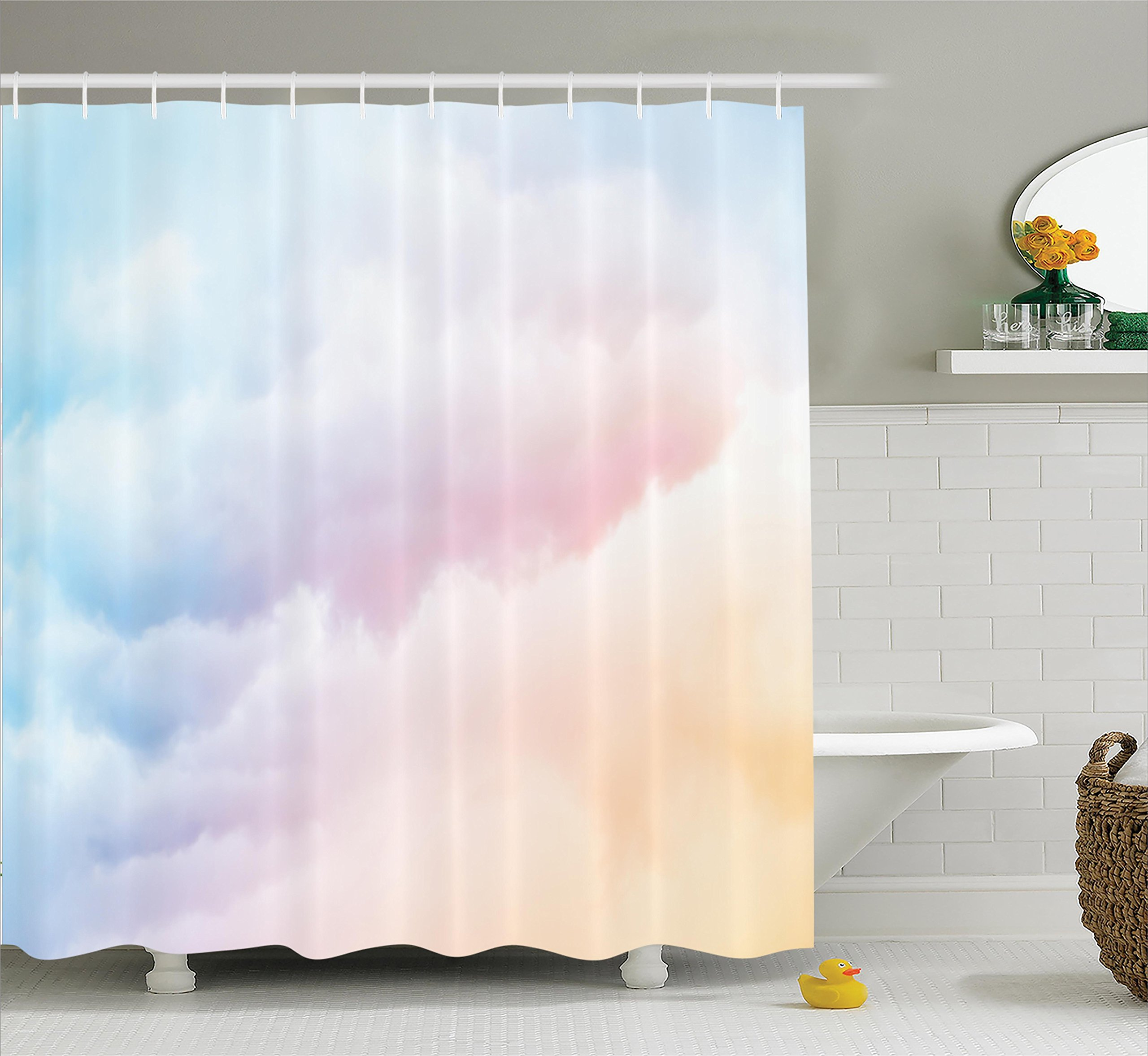 Ambesonne Apartment Decor Collection, Fluffy Dreamy Gradient Faded Pastel Cloud Ethereal Fog Sublime Rainbow Featured Decor, Polyester Fabric Bathroom Shower Curtain, 75 Inches Long, Blue Pink