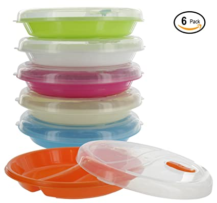 Ram-Pro Microwave Food Storage Plates - 2 Compartment Divided Plates Vented Lids Lunch  sc 1 st  Amazon.com & Amazon.com: Ram-Pro Microwave Food Storage Plates - 2 Compartment ...