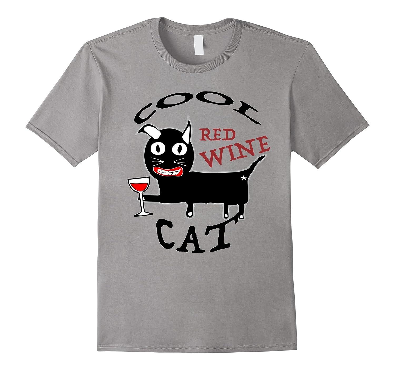 Red Wine Cool Cat T-shirt Men Women Drink Glass Crazy-FL