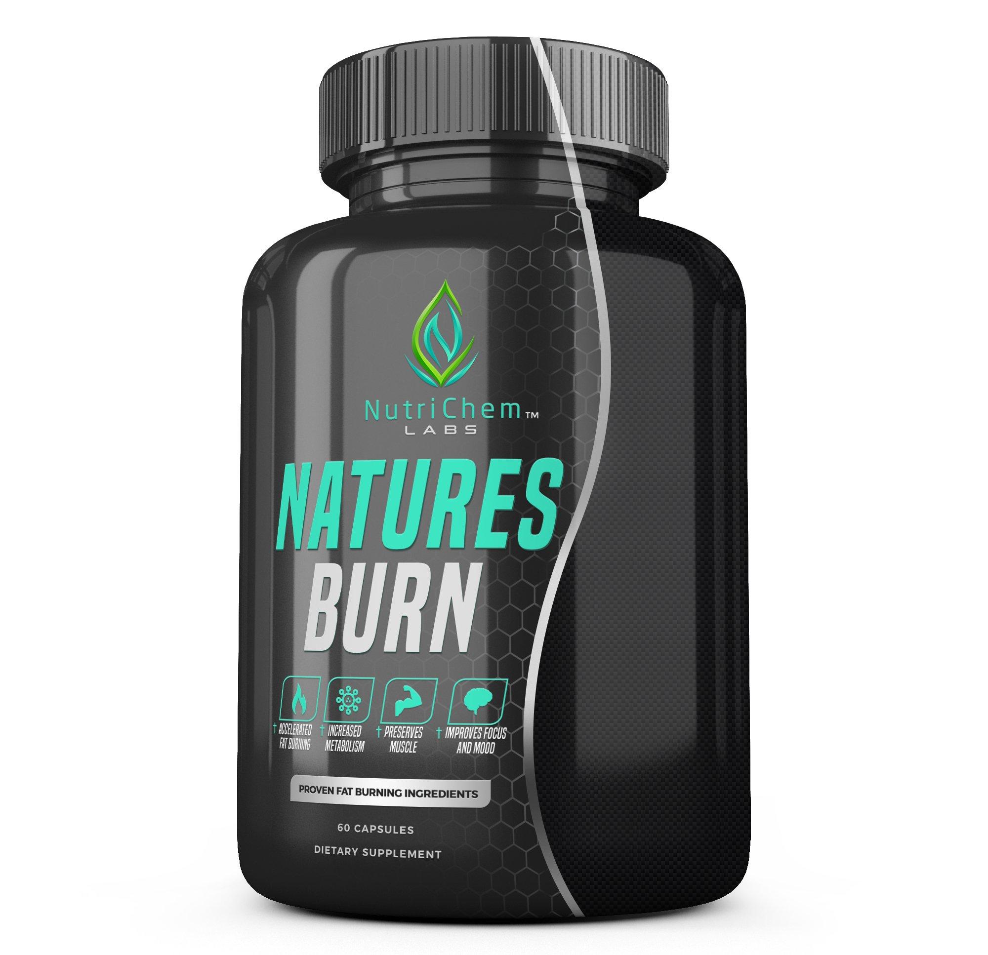 NATURES BURN - Fat Burner, Appetite Suppressant and Muscle Preserving Amino Acids - 60 Vegetarian Capsules